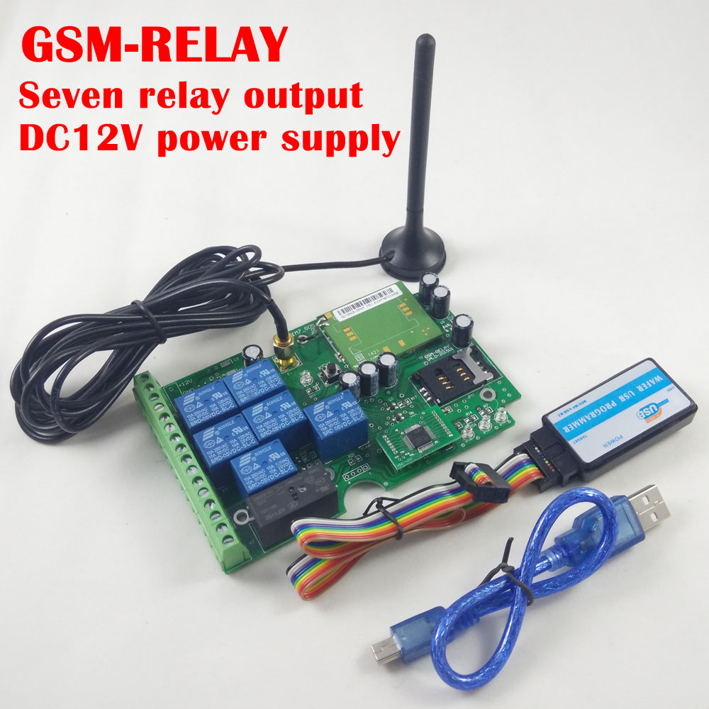 Free shipping Seven relay output GSM remote control board(China (Mainland))