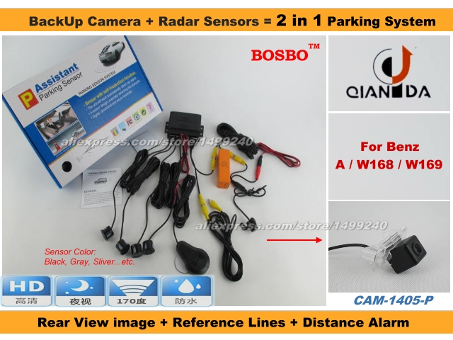 For Mercedes Benz A W168 W169 - Car Parking Sensor+ Rear View Camera 2in1 Assistance System - 4 Radars / Visible Model<br><br>Aliexpress