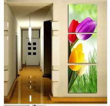 Free shipping 3 panels The colorful Tulip In Blossom on canvas Modern Oil Painting Wall Art ,Top Home Decoration frameless(China (Mainland))