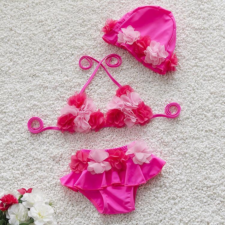 5 COLORS 2016 SUMMER BABY GIRLS CLOTHING SETS 3 PCS SWIMWEARS FLOWER PATTERN BABY CLOTHES  SWIMSUITES BIKINI