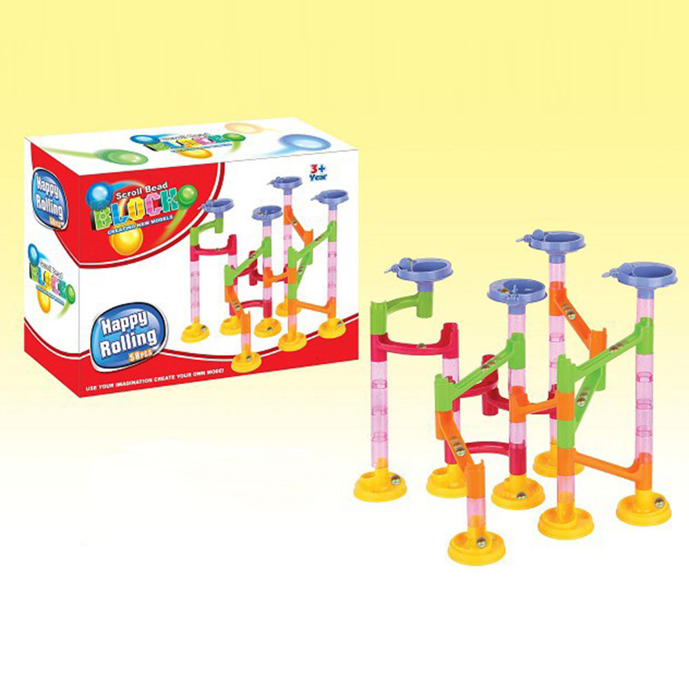 New 58Pcs DIY Building Blocks Education Track Run Race Game Tower with Marble Ball Construction Toys(China (Mainland))
