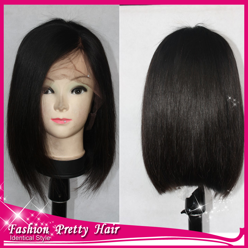 Top Grade Indian Lace Front Bob Wigs Silky Straight Short Bob Glueless Human Hair Bob Wigs With Bangs For Black Women In Stock(China (Mainland))