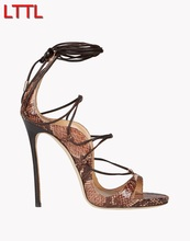 2017 women gold color high heelslace up gladiator sandals snake skin print sandals 12cm thin high heels open toe sandals(China (Mainland))