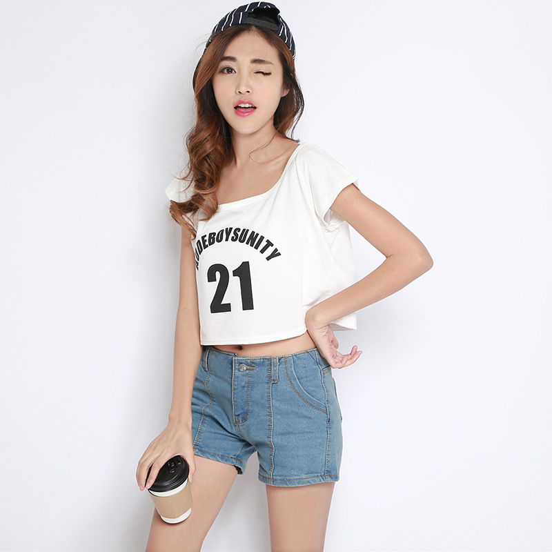 2015 New Arrival Letter Color Short Sleeve Casual T Shirt