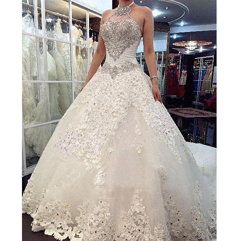 Charming Design Top Crystal Luxury Wedding Dress Cathedral Train Bridal Gown Wedding Dresses vestido de noiva(China (Mainland))