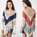 2016 ONE SIZE Loose Women s Beach Tunic Crochet Beach Cover Up V Neck Bathing Suit