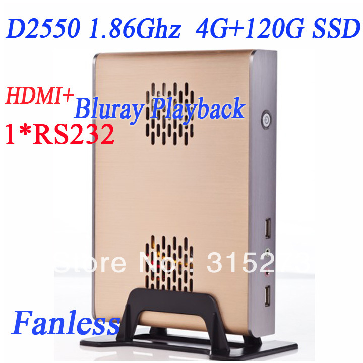 2013 latest atom mini pc with HDMI 4G RAM 120G SSD windows 7 ultimate english OEM cracked version intel D2550 1.86Ghz fanless(China (Mainland))