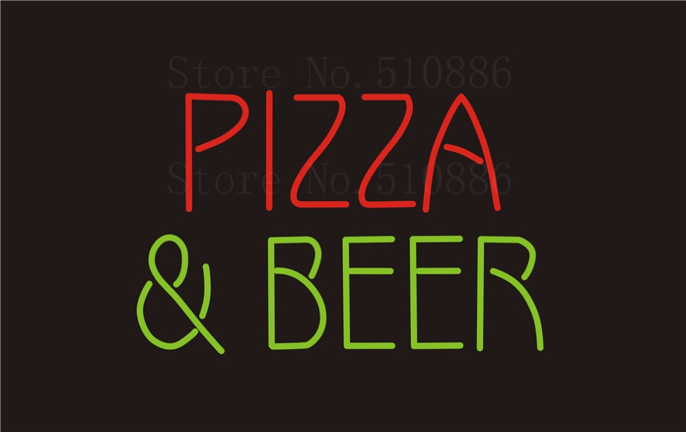 """Custom Signage NEON SIGNS Pizza Beer Real GLASS Tube BAR PUB Signboard Display Decorate Store Shop Light Sign 17*14""""(China (Mainland))"""