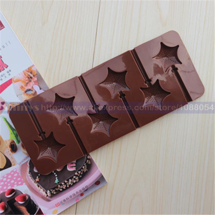 Free shipping DIY silicone chocolate cake mold cake pop lollipop mold stars design 6 units 1 piece(China (Mainland))