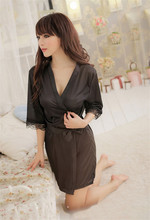 A 2015 Women lure Sleepwear Robes lady night Silk Bathrobes Lingerie set with Belt and t-back(China (Mainland))