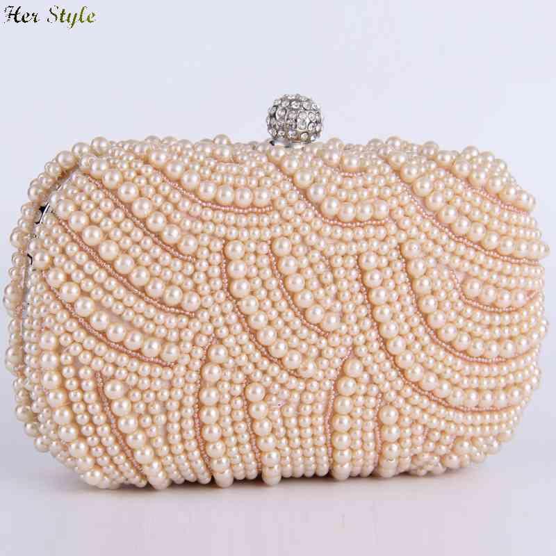 Free Shipping Europe luxury clutch baggrade Pearl rhinestone handbags celebrities fashion evening bag 143261691(China (Mainland))