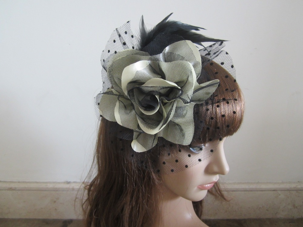 Pearl White Hair Fascinator Clip Feathers Lace Corsage Brooch Wedding Fasinators(China (Mainland))