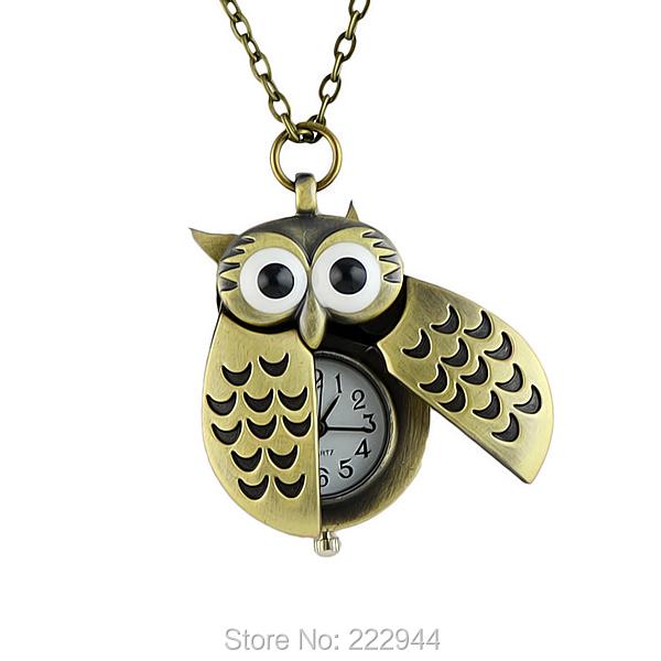 Unique antique fashion alloy vivid owl pocket watches pendent necklace(China (Mainland))
