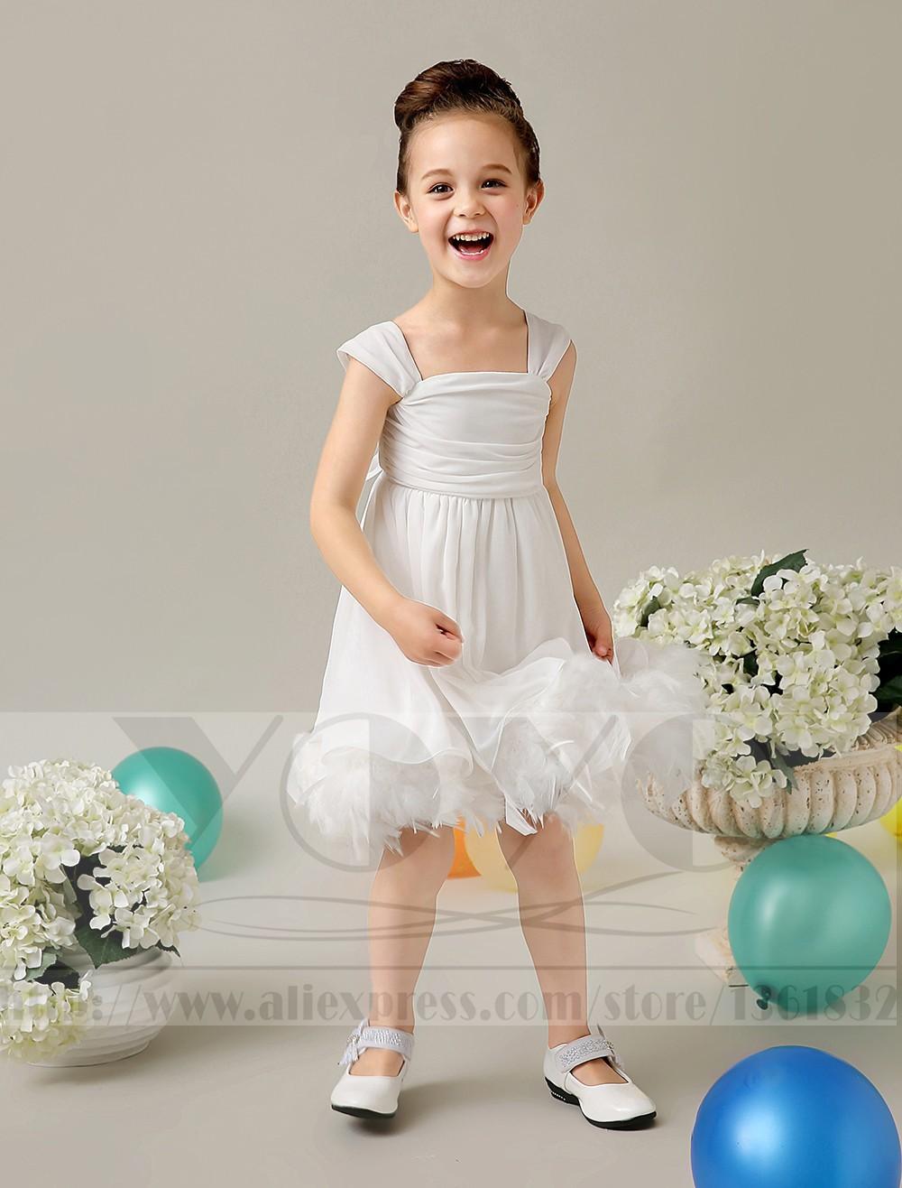 Скидки на A-line тюль кот свадебный цветок девочки Платья маленькие девочки платья с перьями элегантные детей девочек вечерние платья