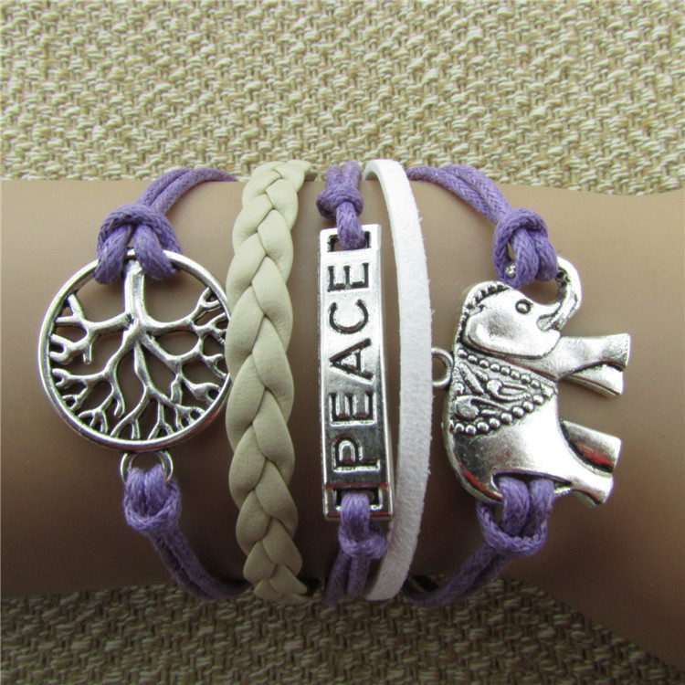 Tree of Life Jewelry Wholesale trade PEACE elephant stranded wax rope bracelet spot wholesale Z280(China (Mainland))