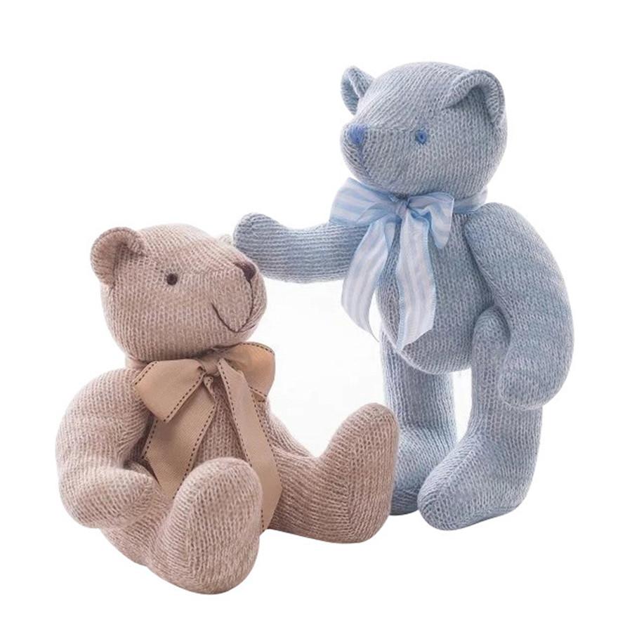 kids cute Bowknot knitting little Teddy Bear plush toys doll children Stuffed Animals Fluffy bear baby Toy christmas gift TO85(China (Mainland))