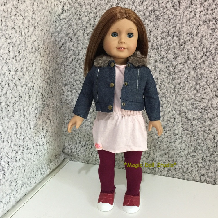 "[AM140] 18"" American Doll Dress Demin Jacket, Dress, tights and Shoes Set fits 18"" dolls American girl doll clothes for retail(China (Mainland))"