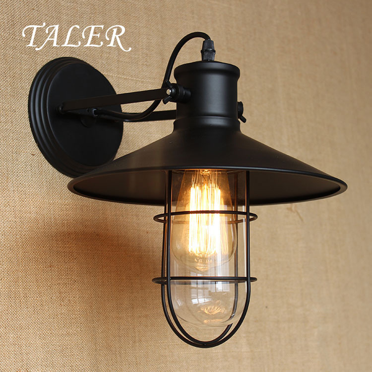 Taler wall sconces 220v E27 lights black metal Cage retro vintage iron wall lamp industrial lamp ...
