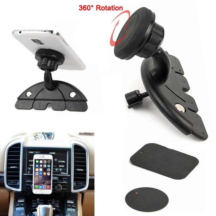 Гаджет  Universal Adjustable CD Player Slot Smartphone Mobile Phone Car Mount Holder 360 Rotating Magnet Stand Bracket for Mobile GPS None Телефоны и Телекоммуникации