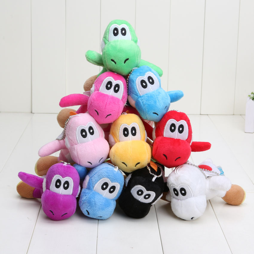 4'' Super Mario Bros Yoshi Plush Anime Keychain yoshi keychain phone chain soft stuffed plush toys doll 10 colors(China (Mainland))