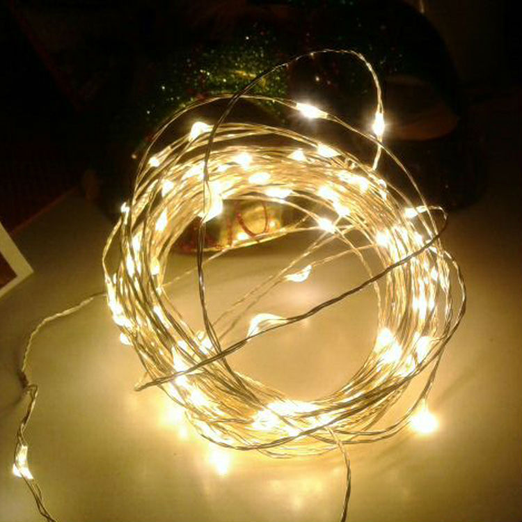 String Lights With Wire : 10M 33FT 100 led 3 AA Battery Powered Decoration LED Copper Wire Fairy String Lights Lamps for ...