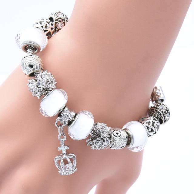 Горячая распродажа корона шарм браслеты для женщин змея цепи белый муранского стекла ...