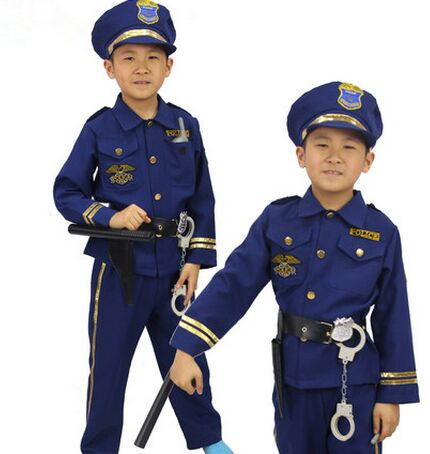 blue police costume for children police suit for kids chinese police uniform boys police uniform cosplay clothing for halloween(China (Mainland))