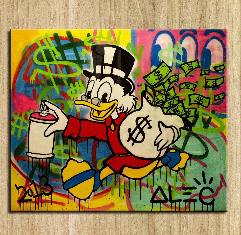 2016 New Arrival Sale Paintings Wall Art Painting American Street Artist Takes On Extreme Capitalism Alec-monopoly Print Canvas(China (Mainland))