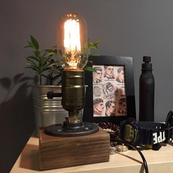 Loft Vintage T45 Edison Bulb Table Lamp Water Pipe Light Home Bar Decor(China (Mainland))