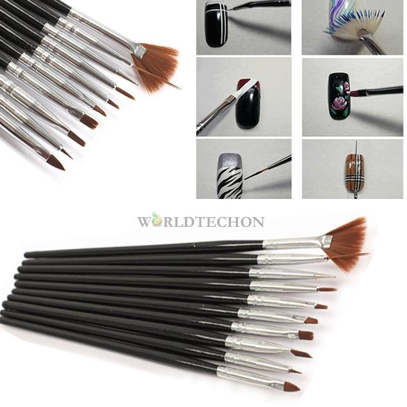 W7Tn 10Pcs Black Nail Art Tool Set Drawing Painting Dotting Brush Gel Design Tips(China (Mainland))