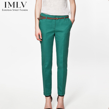 Spring Summer &Autumn Excellent Quality Elegant Fashion Ladies Pencil Pants, Women Trousers With Belt