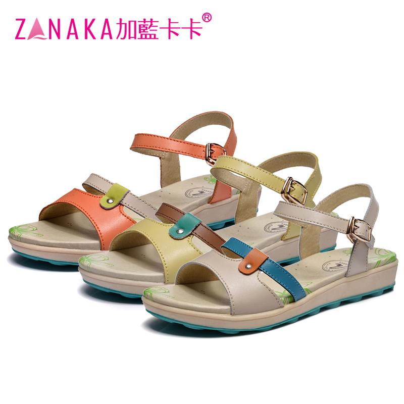 Blue kaka 2016 genuine leather flat sandals female flat heel sandals casual beach women's shoes free shipping(China (Mainland))