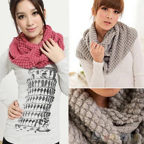 Women Girl Winter Warm Infinity Wrap 2 Circle Shawl Cable Knit Cowl Neck Long Scarf 24XA(China (Mainland))