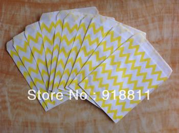 Yellow Chevron Paper Favor Bags,Kids Gift Bags,Birthday Goodie Bag,Medium Party Treat Bags,200pcs/lot Free Shipping