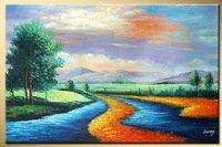 Autumn River landscape oil painting E589