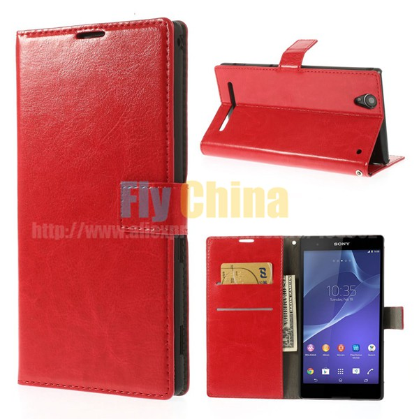 Crazy Horse Leather Flip Case Card Slots Sony Xperia T2 Ultra D5303 / dual D5322 - Fly China store