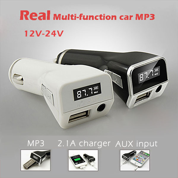 Real SATA Multi-function 12V-24V car MP3 player FM transmitter modulator AUX phone support audio output/charger free shipping(China (Mainland))