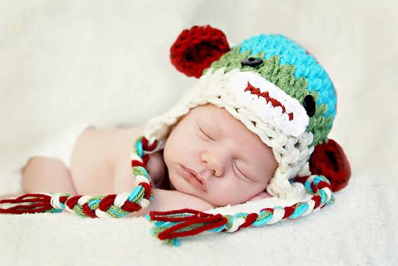 free shipping,Sock Monkey Hat, Newborn Sock Monkey, Crochet Sock Monkey Hat, Baby Boy baby Earflap Hat 100% cotton(China (Mainland))