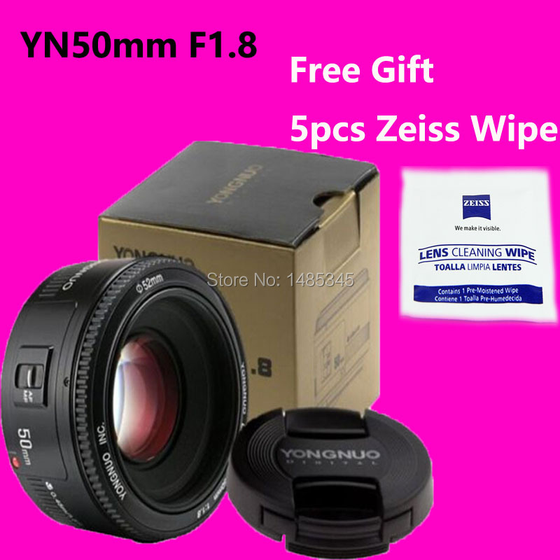 YONGNUO 50mm Lens fixed focus lens EF 50mm F/1.8 AF/MF Large Aperture Auto Focus Lens Canon+ Zeiss Lens Wipe