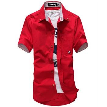 Men's Casual Short Sleeve Shirts Brand Camisa Men High Quality Slim Fit Shirts With Mushroom Embroidery Social Men XXXL