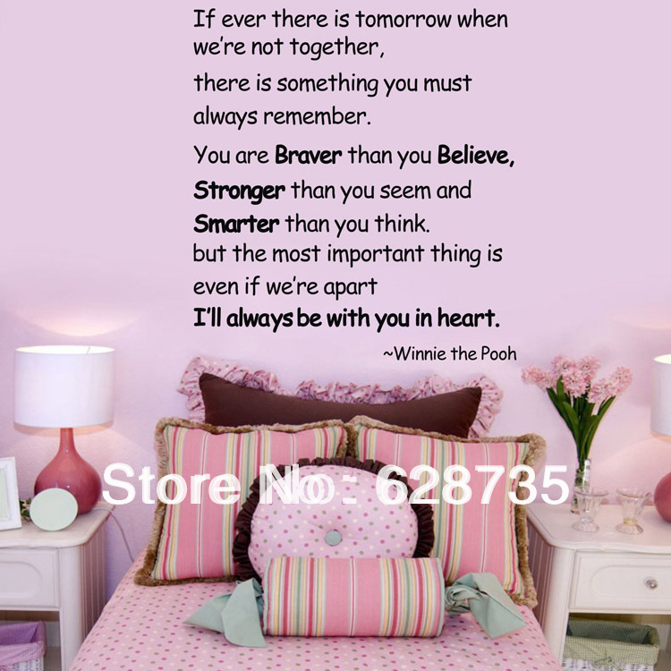you are braver than you believe.Wall Decal Quote Sticker Vinyl Art Letter Christopher Robbin Winnie the Pooh quotes q0020(China (Mainland))