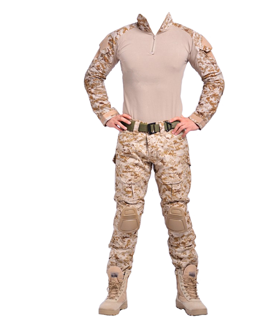 Tema uniformes Men-s-Tactical-Airsoft-Paintball-Combat-font-b-BDU-b-font-G3-Uniform-Shirt-Pants-Knee