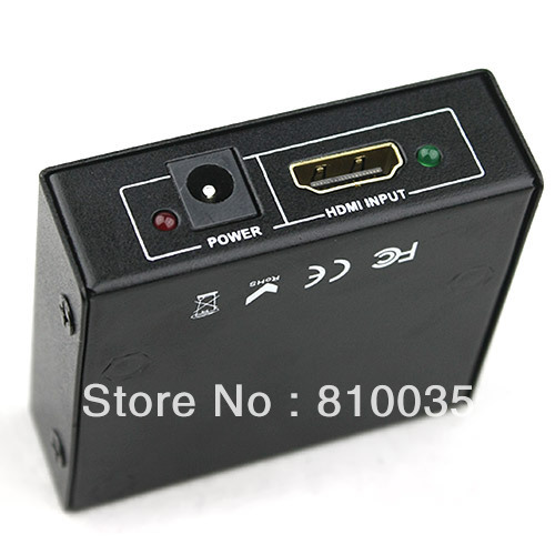 2-port HDMI Splitter 1X2 Distributor box with power adapter 3D&ful HD1080P suported