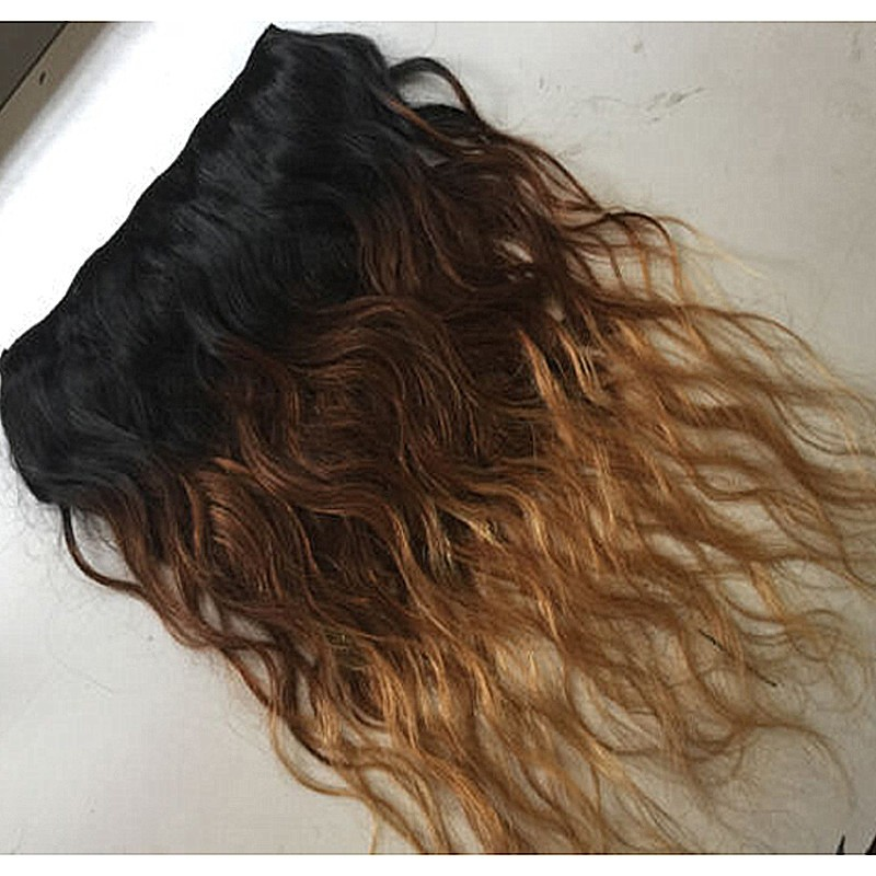 Full Shine Three Tone Blonde Ombre Wavy Clip in Human Hair Extensions One Piece Clip Hair Extensions Double Wefted Color 1B/4/27