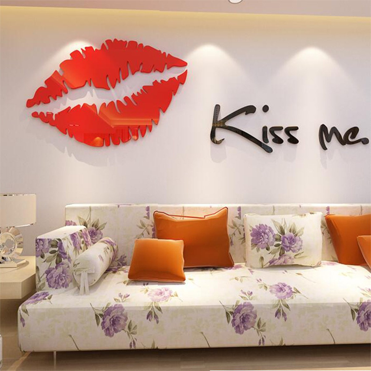 DIY 3D Acrylic Removable Kiss Me Wall Sticker Wall Decal Mural Art Home Living Room Bedroom Decorative Crafts Accessories(China (Mainland))