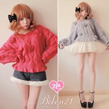Buy Princess sweet lolita sweater Bobon21 winter three-dimensional woolen yarn flower lace butterfly sleeve bat sweater t0953 for $36.80 in AliExpress store