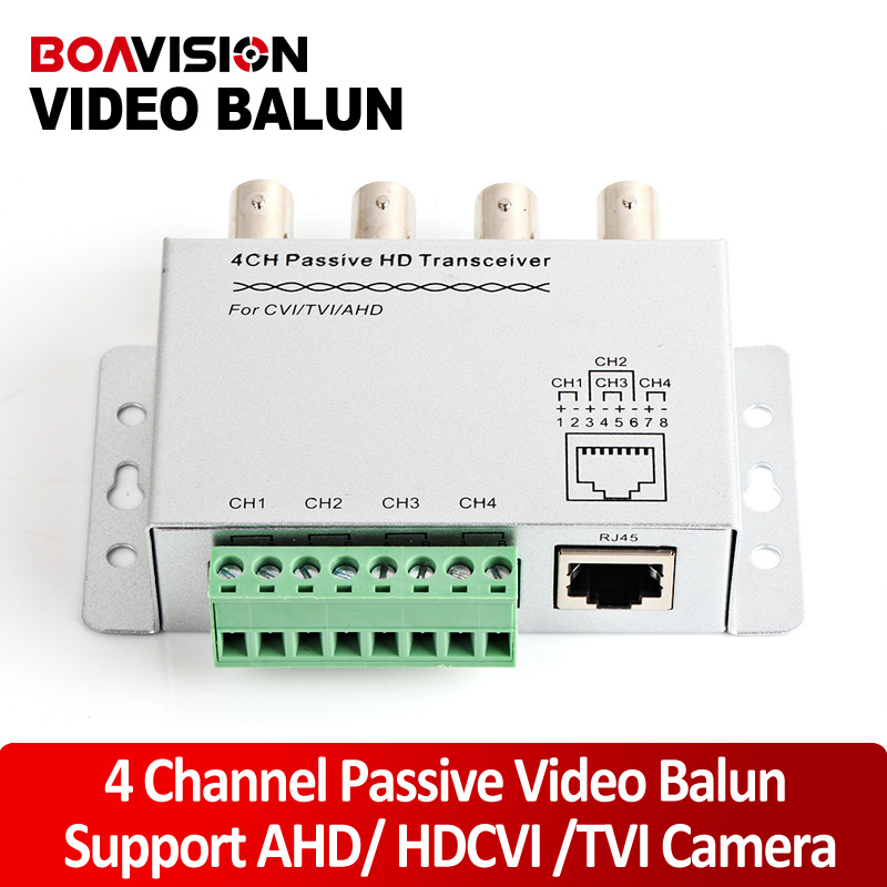 4Ch BNC Video Balun RJ45 Port Or Terminal Block UTP Cable Transfer CCTV Converter Plug And Play Support 720P HDCVI Camera 400m(China (Mainland))