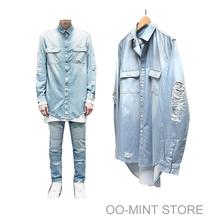 2015 New Man Distressed Denim Shirts Mens Hip Hop Blue Cowboy Tshirt Long Sleeve Hiphop Streetwear Swag Tyga Top Tee Clothes(China (Mainland))
