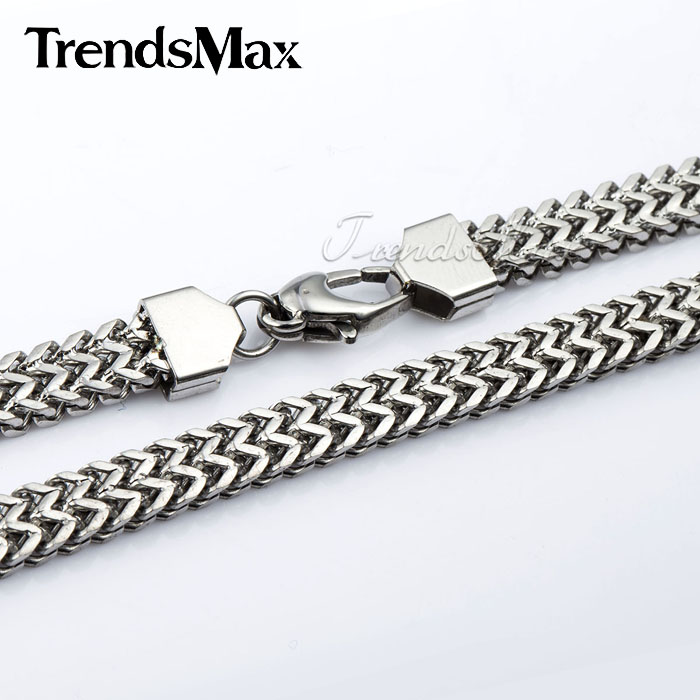 Trendsmax 6mm Wide Mens Chain Boys DOUBLE FOXTAIL BOX Silver Tone Stainless Steel Necklace High Jewelry Jewellery KNM87