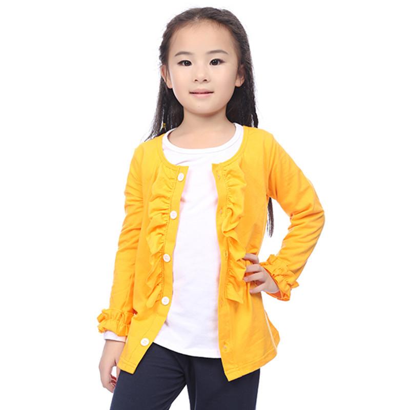 2015 Newborn Baby Kids Girls Sweater Coat Yellow Ruffled ...